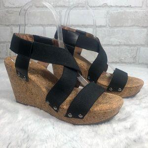 Stud Cork Wedge Strappy Slip On Marla Sandals